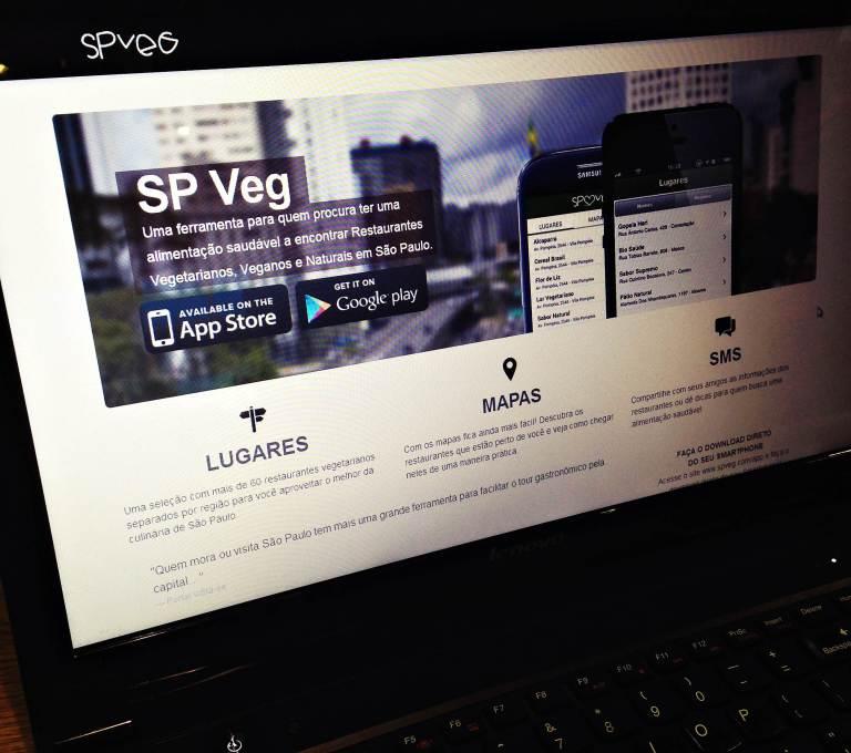 Aplicativo SP Veg para quem quer encontrar restaurantes veganos, vegetarianos e naturais em São Paulo. Disponível gratuitamente na App Store e Google Play.